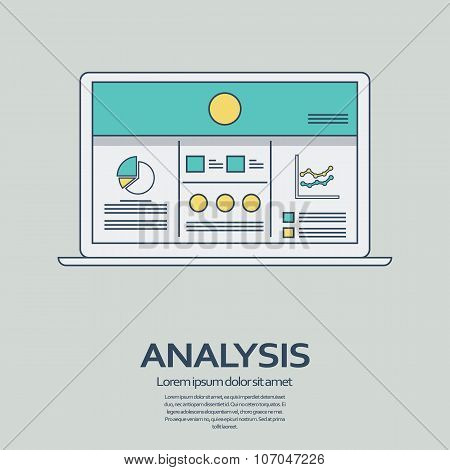 Business analysis background with laptop and line art icons responsive design. Presentation graphs,