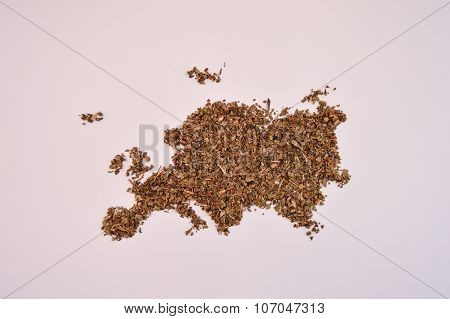 Dried basil in the shape of Europe