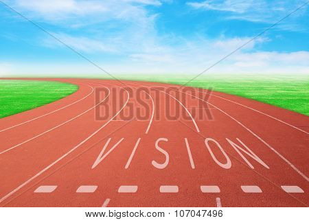 Outdoor Racetrack With Sign Vision With Blue Sky Background
