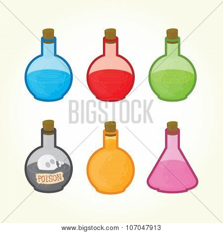 Glass bulbs with liquids icons
