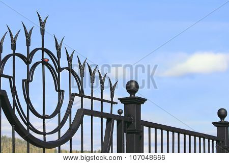 Metal Forged Fence On The Background Of Sky