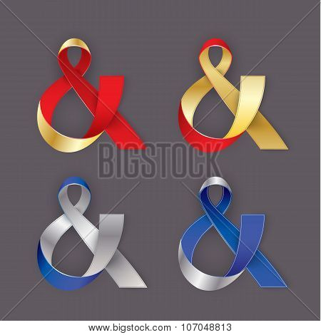 Photorealistic ribbon in the shape of Ampersand. Vector elements for card, invitation or web banner
