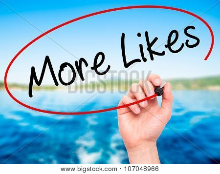 Man Hand writing More Likes with black marker on visual screen