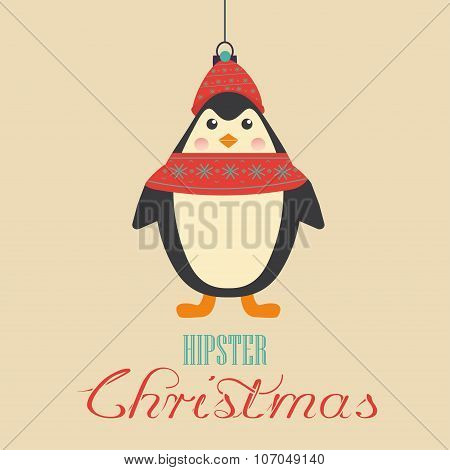 Merry Christmas Vintage Retro Typography Lettering Design Greeting Card with toy hipster penguin