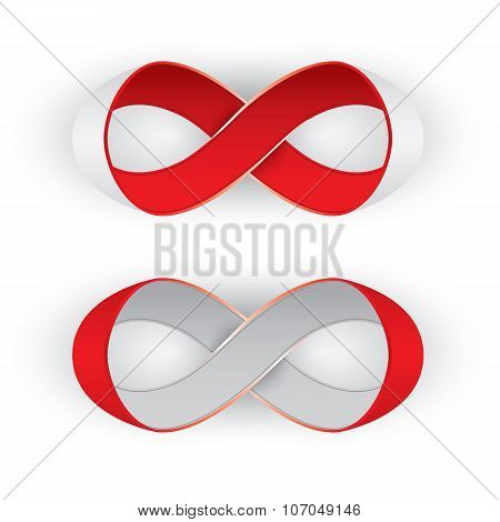 Photorealistic red and silver ribbon in shape limitless, infinity symbol