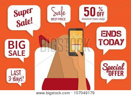 Shopping addiction. Sale signs. Flat vector