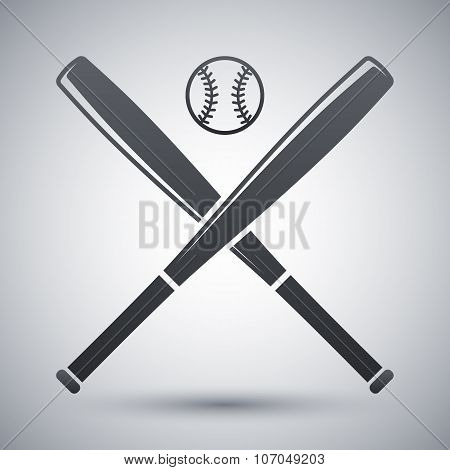 Vector Baseball Bats And Ball Icon