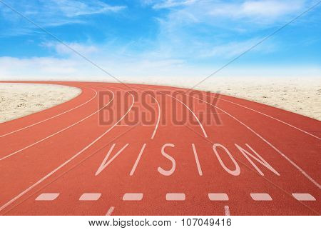 Outdoor Running Track With Sign Vision With Desert And Sky Background