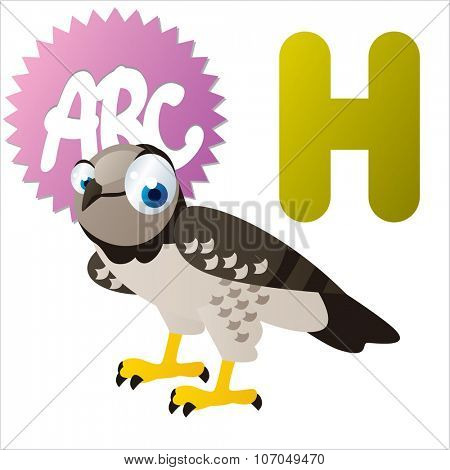 vector cartoon funny animals alphabet: H is for Harpy Eagle