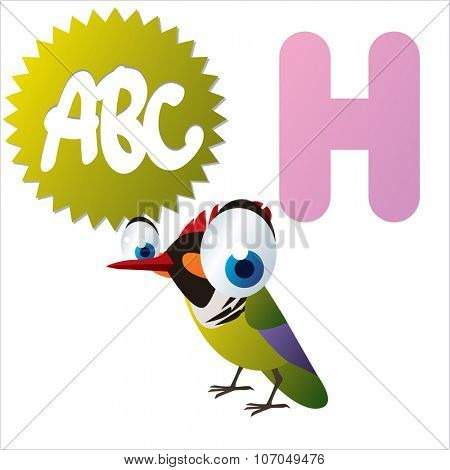 vector cartoon funny animals alphabet: H is for Hummingbird