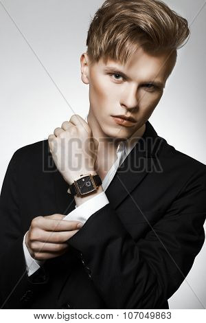 Young glamour handsome man in suit