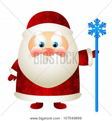 Cute Santa with magic stick isolated on white