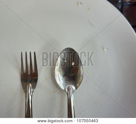 Spoon And Fork On White Plate