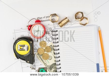 Copybook with drawings and fittings