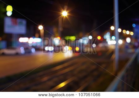 Defocused And Blur City Night Scene With Blurred Lights