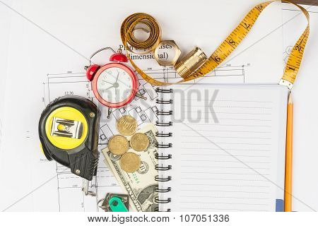Copybook with drawings and coins