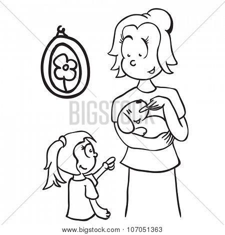 simple black and white mom feeding a dog cartoon