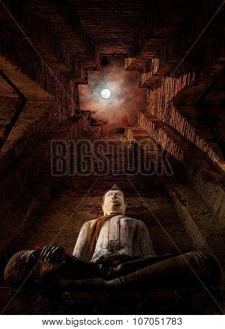 Buddha Statue Under Full Moon  , Thailand