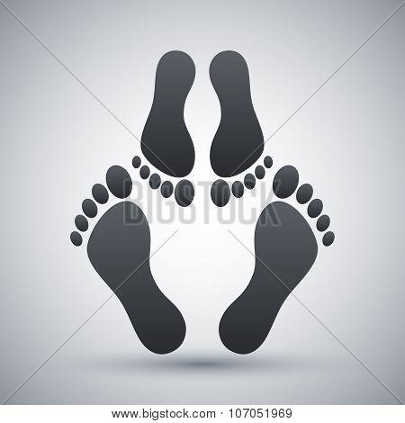 Footprints Icon, Stock Vector