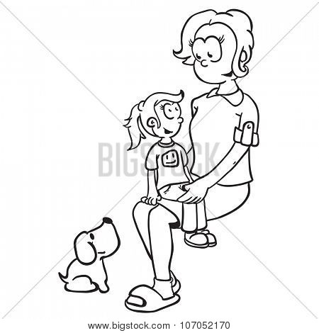 simple black and white mom, girl and dog cartoon