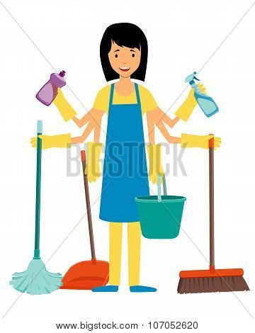The concept of multitasking housewife. Woman and cleaning tools. Vector illustration