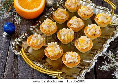 Tartlets With Chicken, Orange And Pine Nuts