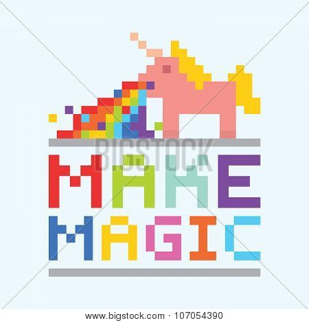 Make magic unicorn illustration