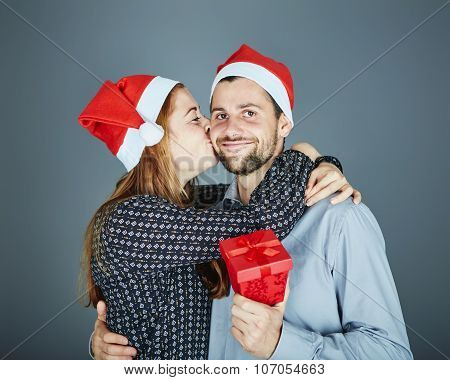 Couple Is Happy With Gift For Christmas