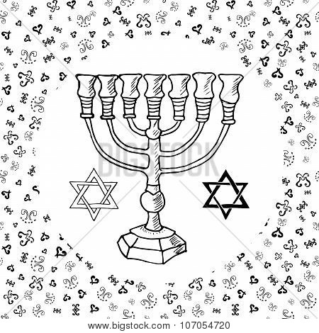Hand Drawn Sketch Of Menorah Traditional Jewish Religious Symbols, Rosh Hashanah, Hanukkah, Shana To