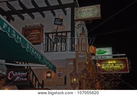 Restaurant decorations and neon signs