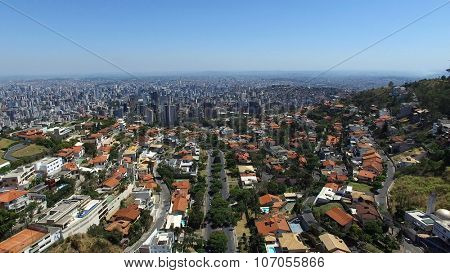 BELO HORIZONTE, BRAZIL -  CIRCA OCTOBER, 2015: Aerial view from Popes Square to Belo Horizonte skyline, Minas Gerais, Brazil.