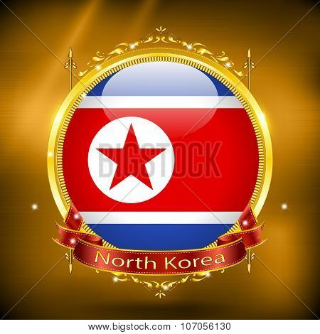 Flag of North Korea in GOLD