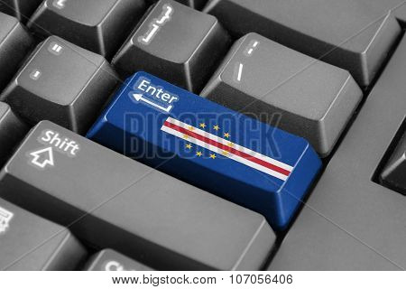 Enter Button With Cape Verde Flag