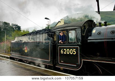 Fort William, Scotland -  August 17 2005. Old Steam Train The Jacobite. Train Conductor