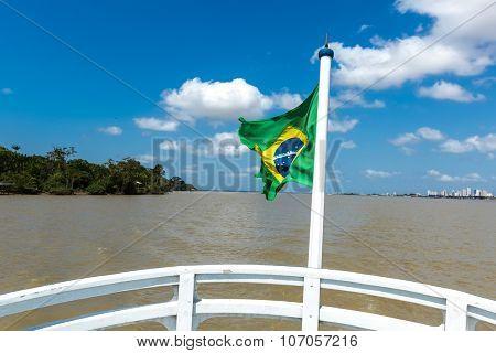 Boat on Marajo Bay in Belem do Para, Brazil