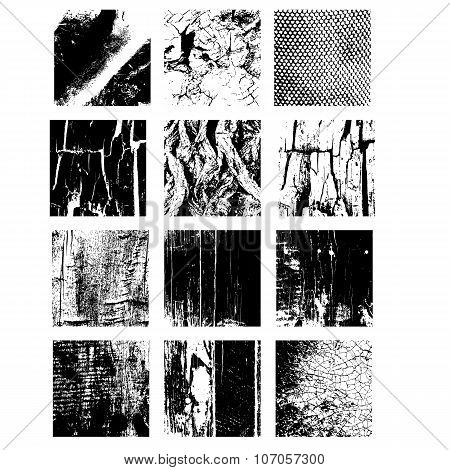 Set Of Texture Stamp Eps 10 Grunge And Wooden Shapes