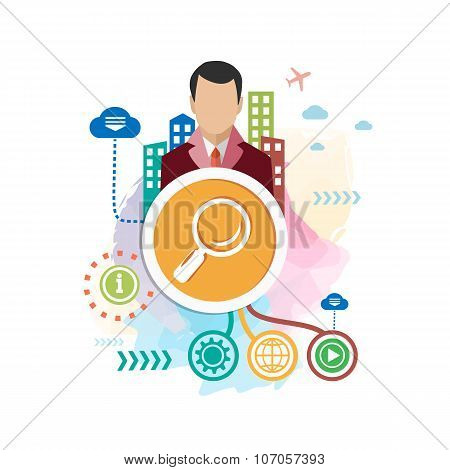 Magnifier And And Man On Abstract Colorful Background With Different Icon