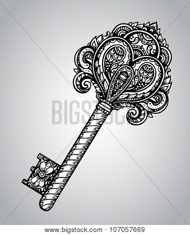 Vector Hand Drawn Antique Ornate Key