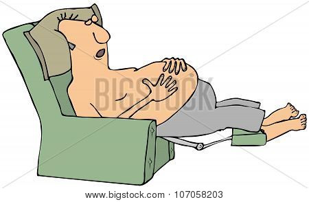 Shirtless man asleep in a chair