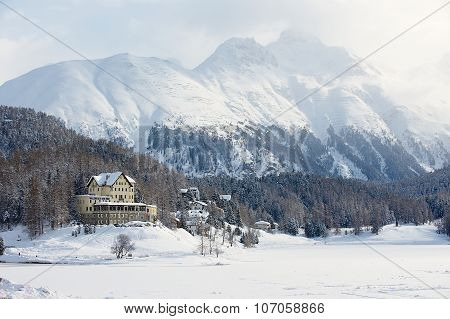 View to the Waldhaus am See hotel with the mountain at the background in Saint Moritz, Switzerland.