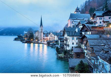 Hallstatt, Salzkammergut, Austria, In Misty Morning Light. Unesco World Culture Heritage Site Near S