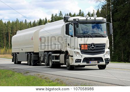 White Mercedes-Benz Actros 2545 Tank Truck On The Road