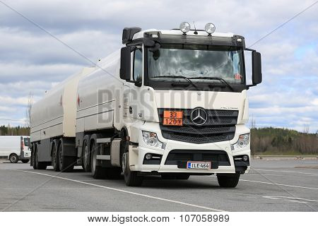 White Mercedes-Benz Actros 2545 Tank Truck Parked
