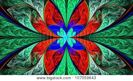 Extraordinarily beautiful colorful stained glass. Sun. Leaves are fabulous plants.