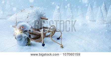Art Christmas Background With Christmas Tree On Santa Sleigh