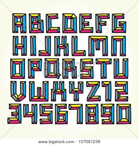 Cmyk font vector set