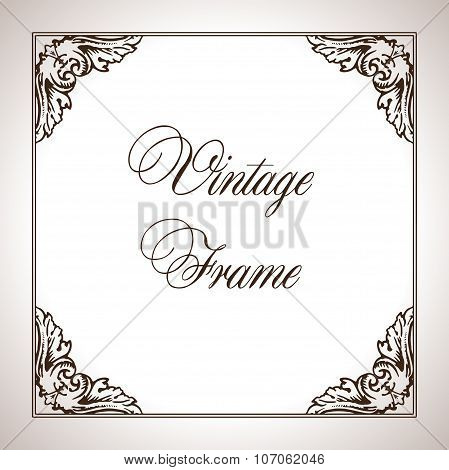 Vector calligraphic engraving frame in antique style