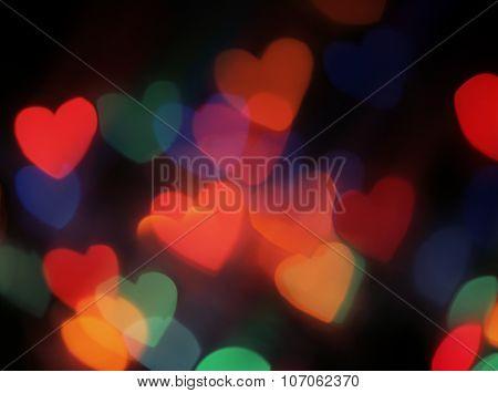 Heart shaped blurred lights.