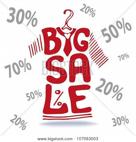 Big Sale lettering.Tee Shirt on hanger,falling numbers