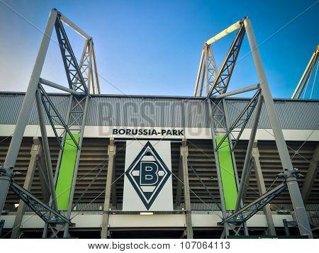 DUSSELDORF, GERMANY - NOVEMBER, 2015: Football staidum Borussia Park in Monchengladbach